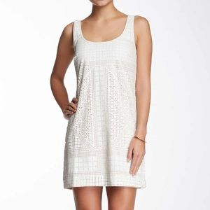 White Laser Cut Shift Dress